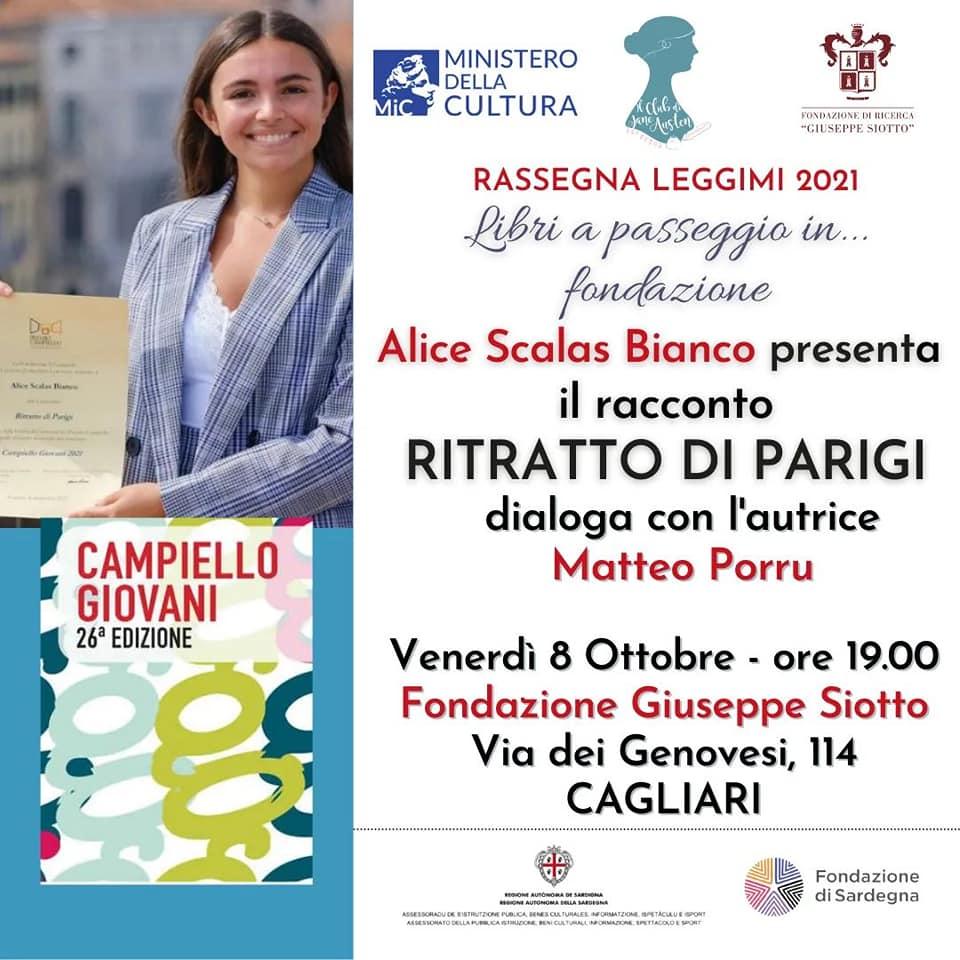 Doppio appuntamento con la vincitrice del Campiello Giovani Alice Scalas Bianco